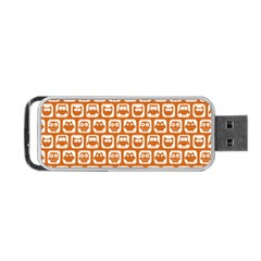 Orange And White Owl Pattern Portable USB Flash (One Side)