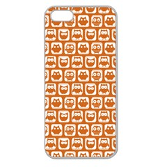 Orange And White Owl Pattern Apple Seamless iPhone 5 Case (Clear)