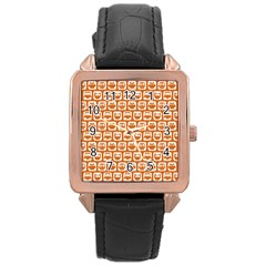 Orange And White Owl Pattern Rose Gold Watches