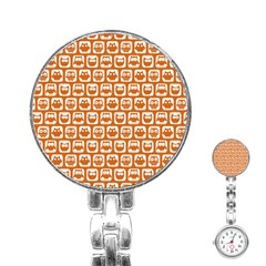 Orange And White Owl Pattern Stainless Steel Nurses Watches
