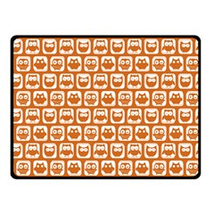 Orange And White Owl Pattern Double Sided Fleece Blanket (Small)