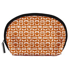 Orange And White Owl Pattern Accessory Pouches (Large)