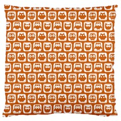 Orange And White Owl Pattern Standard Flano Cushion Cases (Two Sides)