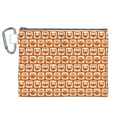 Orange And White Owl Pattern Canvas Cosmetic Bag (XL)