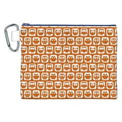 Orange And White Owl Pattern Canvas Cosmetic Bag (XXL)