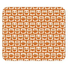 Orange And White Owl Pattern Double Sided Flano Blanket (Small)