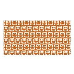 Orange And White Owl Pattern Satin Shawl