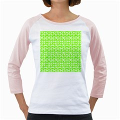 Lime Green And White Owl Pattern Girly Raglans