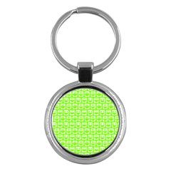 Lime Green And White Owl Pattern Key Chains (Round)