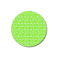 Lime Green And White Owl Pattern Rubber Coaster (Round)