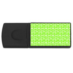 Lime Green And White Owl Pattern USB Flash Drive Rectangular (2 GB)