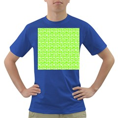Lime Green And White Owl Pattern Dark T-Shirt