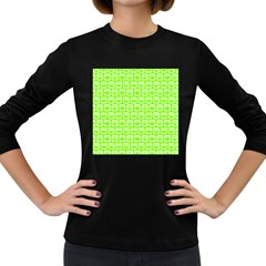 Lime Green And White Owl Pattern Women s Long Sleeve Dark T-Shirts