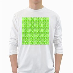 Lime Green And White Owl Pattern White Long Sleeve T Shirts