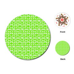 Lime Green And White Owl Pattern Playing Cards (Round)