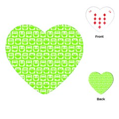Lime Green And White Owl Pattern Playing Cards (heart)