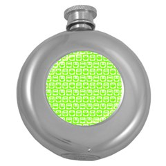 Lime Green And White Owl Pattern Round Hip Flask (5 oz)
