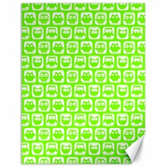 Lime Green And White Owl Pattern Canvas 18  X 24