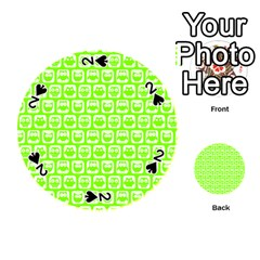 Lime Green And White Owl Pattern Playing Cards 54 (Round)