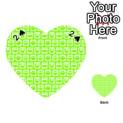 Lime Green And White Owl Pattern Playing Cards 54 (Heart)