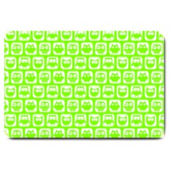 Lime Green And White Owl Pattern Large Doormat