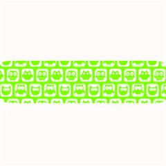 Lime Green And White Owl Pattern Large Bar Mats