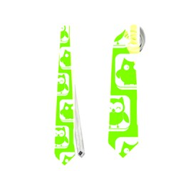 Lime Green And White Owl Pattern Neckties (one Side)