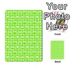 Lime Green And White Owl Pattern Multi Purpose Cards (rectangle)