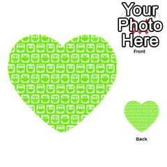 Lime Green And White Owl Pattern Multi-purpose Cards (Heart)