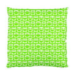 Lime Green And White Owl Pattern Standard Cushion Cases (Two Sides)