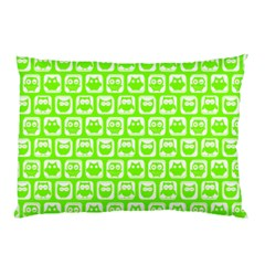 Lime Green And White Owl Pattern Pillow Cases