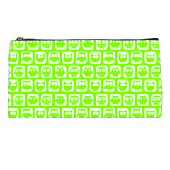 Lime Green And White Owl Pattern Pencil Cases