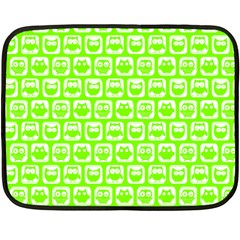 Lime Green And White Owl Pattern Double Sided Fleece Blanket (Mini)