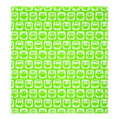 Lime Green And White Owl Pattern Shower Curtain 66  X 72  (large)