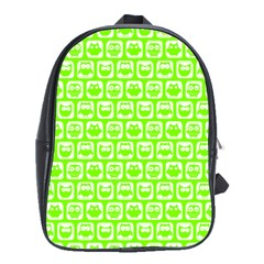Lime Green And White Owl Pattern School Bags(Large)