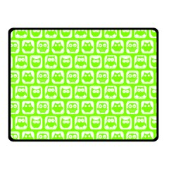 Lime Green And White Owl Pattern Fleece Blanket (small)