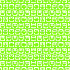 Lime Green And White Owl Pattern Magic Photo Cubes