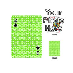 Lime Green And White Owl Pattern Playing Cards 54 (Mini)