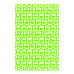 Lime Green And White Owl Pattern Shower Curtain 48  x 72  (Small)