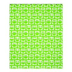 Lime Green And White Owl Pattern Shower Curtain 60  x 72  (Medium)