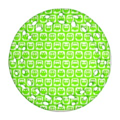 Lime Green And White Owl Pattern Round Filigree Ornament (2side)