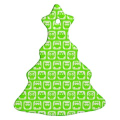 Lime Green And White Owl Pattern Christmas Tree Ornament (2 Sides)