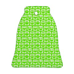 Lime Green And White Owl Pattern Bell Ornament (2 Sides)