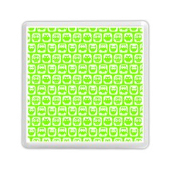 Lime Green And White Owl Pattern Memory Card Reader (square)
