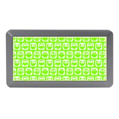 Lime Green And White Owl Pattern Memory Card Reader (Mini)