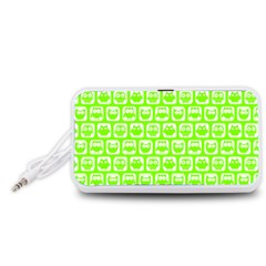 Lime Green And White Owl Pattern Portable Speaker (White)