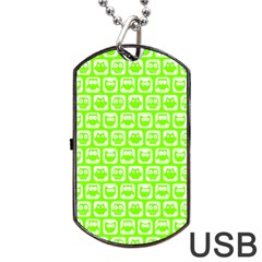 Lime Green And White Owl Pattern Dog Tag USB Flash (One Side)
