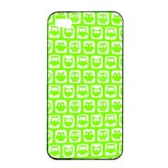 Lime Green And White Owl Pattern Apple Iphone 4/4s Seamless Case (black)