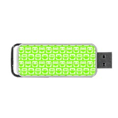 Lime Green And White Owl Pattern Portable USB Flash (One Side)