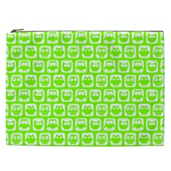 Lime Green And White Owl Pattern Cosmetic Bag (XXL)